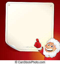 Santa Sign. Cartoon Santa Claus with Blank Note. - Santa...