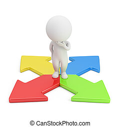 3D, pequeno, pessoas, -, escolha, direção