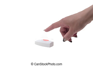 Red button - Female finger presses the red button