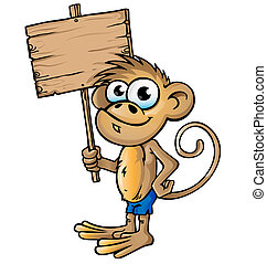 monkey cartoon with signboard