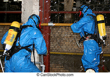 man in  chemical suit  for cleaning operation
