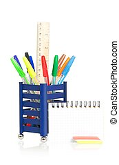 Colorful ballpoints with note-paper and eraser isolated on...