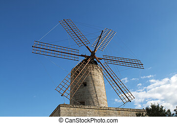 Typical old windmill in Malta