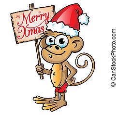 monkey christmas cartoon with signboard