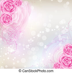 Pink roses background - Background with pink roses and...