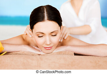 woman in spa - picture of woman in spa salon getting massage...