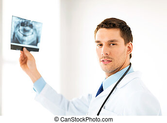 male doctor or dentist with x-ray - picture of male doctor...