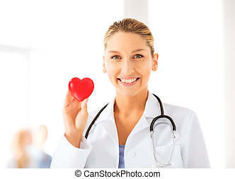 female doctor with heart - bright picture of female doctor...