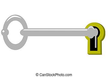 skeleton key - A skeleton key in a brass lock
