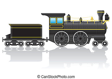 old retro locomotive vector illustration isolated on white...