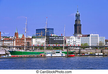 hamburg harbor - famous ahmburg harbor with michle church an...