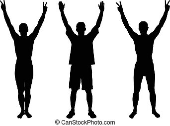 hands up silhouettes
