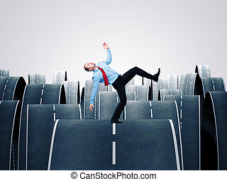 afraid to fail - man balance himself on 3d ways