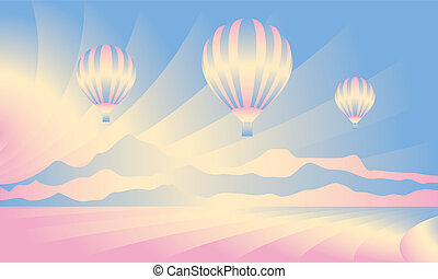 Air balloon in the sky. Vector skyline illustration