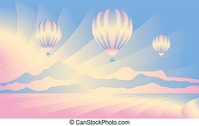 Air balloon in the sky. Vector skyline illustration