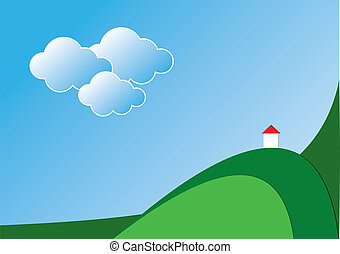 Landscape with chapel Vector background