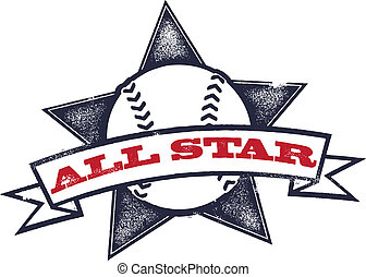 All Star Baseball or Softball - Vintage style baseball or...