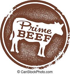 prima, carne de vaca, carnicero, Tienda, estampilla