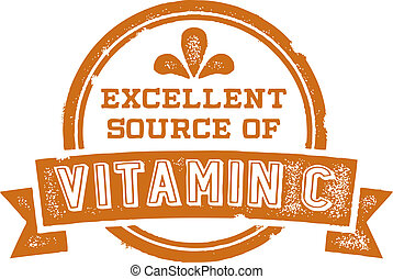 Excellent Source of Vitamin C - Vintage style vector product...
