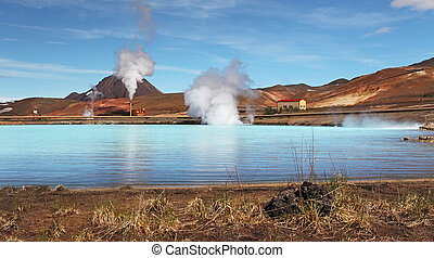 Geothermal Power Station - Turquoise Lake, Iceland