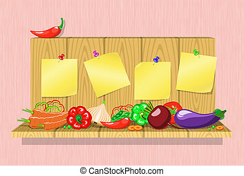 vegetables on a shelf with stickers - fresh vegetables on a...