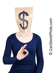 paper bag head with dollar sign - a person with a paper bag...