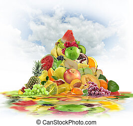 Fresh Fruits Consept - Pyramid Of Fresh Fruits With...