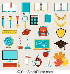 School and education icons set