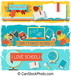Horizontal banners with an illustration of school objects