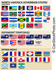 Flags of North American States - Vector set of Flags of...
