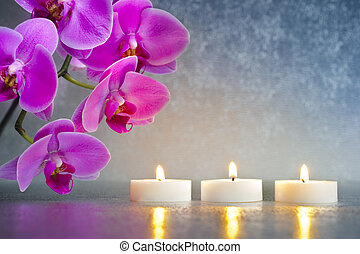 Japan zen garden with orchid and candle lights