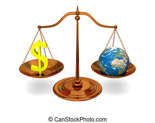 Justice and money - Justice in world of money, bronze scale...
