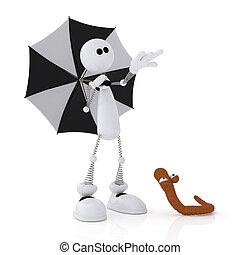 The 3D little man with an umbrella.