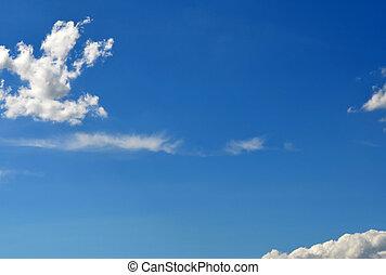 maravilloso, azul, cielo, algunos, blanco, nubes