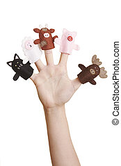 finger puppets - Girl\\\'s hand with animal finger puppets...