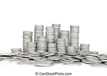 Stack Silver Coin, Success or crisis High resolution color...