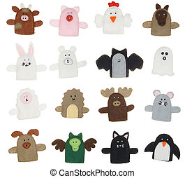 Isolated finger puppets - Isolated collection of different...