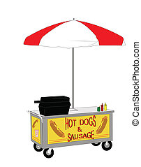 hot dog street vendor - vendors cart selling hot dogs and...
