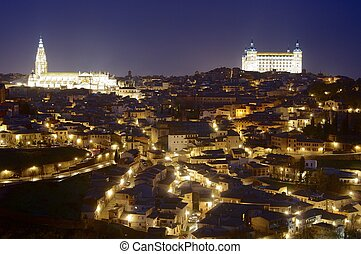 Toledo - Night view in Toledo, Castilla La Mancha, Spain