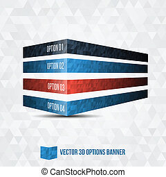 Vector 3D Option Banner - Vector Illustration - Infographic...