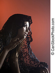 woman in black lace - beautiful woman partially nude in...