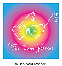 Pop Art Vector Card With the Love Glasses