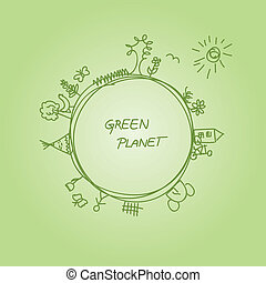Green Planet - Hand drawn illustration of green planet -...