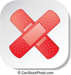 adhesive bandage sticker - red adhesive bandage vector eps...