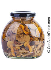 Glass jar with assorted marinated mushrooms on the white...