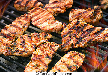Grilled meat - Detailed view of grilled chicken