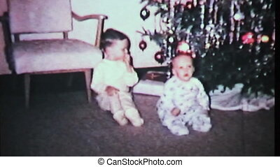 Boys Playing By Christmas Tree-1965 - Cute little boys play...