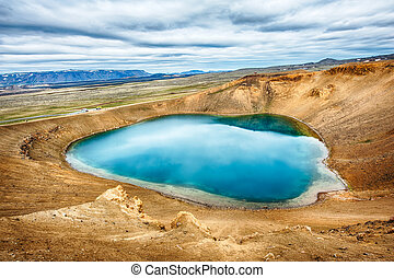 Viti is a beautiful crater lake of a turquoise color located...