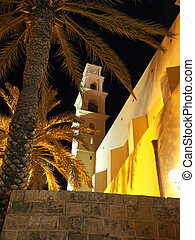 Church in Old Jaffa Tel Aviv Israel - Night view of a Church...