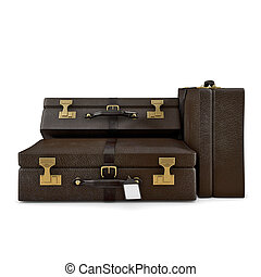 Travel cases isolated - Three suitcases isolated on white...